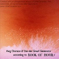 Book Of Hours - King Crimson And Van Der Graaf Generator According To Book Of Hours CD (album) cover