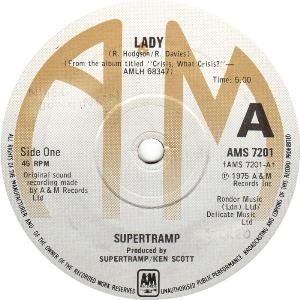 Supertramp - Lady / You Started Laughing When I Held You In My Arms CD (album) cover